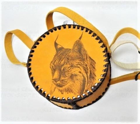 Фляга круглая в кожаном чехле Рысь, 700 мл