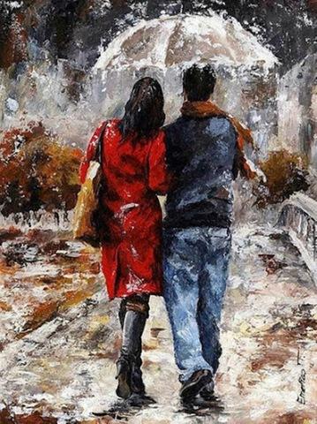 Картина раскраска по номерам 50x65 Влюбленные под одним зонтом