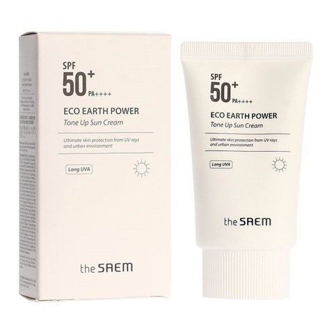 The Saem Eco Earth Power Tone Up Sun Cream SPF50+ PA++++  крем солнцезащитный