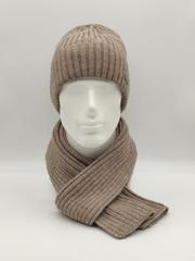 Мужской комплект шапка с отворотом и шарф, бежевый