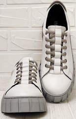 Осенние кроссовки женские белые на платформе Guero G146 508 04 White Gray.