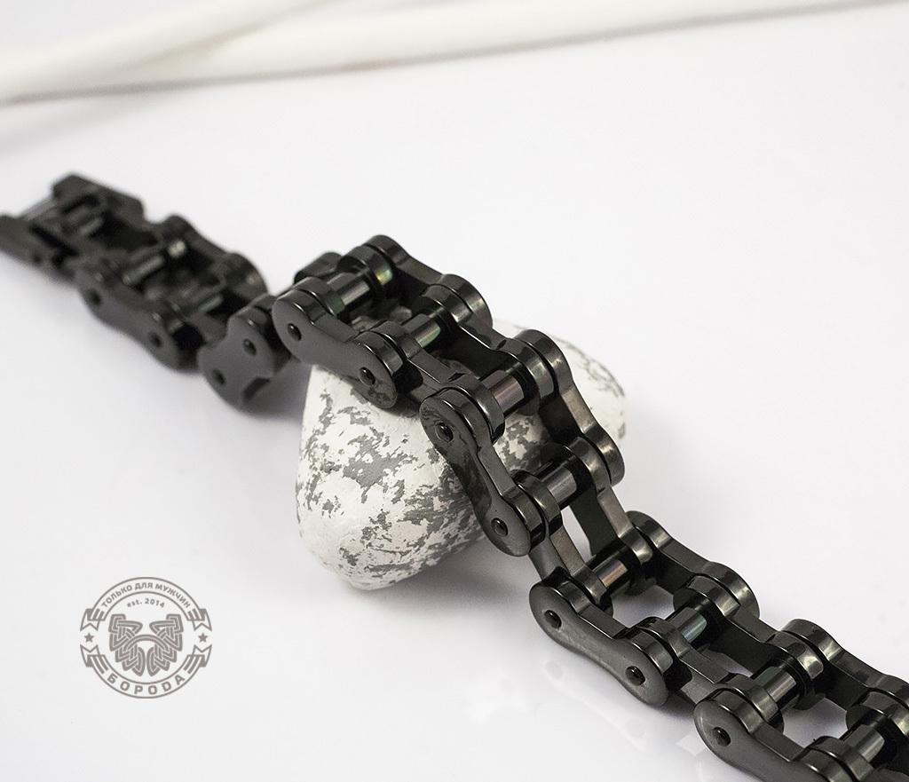 BM123 Стильный стальной браслет «Цепь» черного цвета (22 см) фото 04