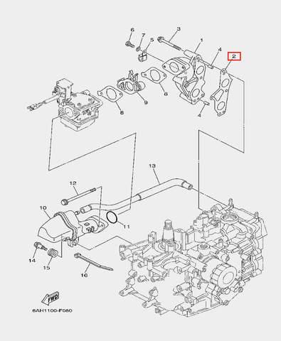 Прокладка впускного коллектора для лодочного мотора F20 Sea-PRO (6-2)