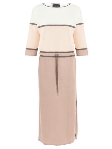 Женское платье бежевого-розового цвета из вискозы - фото 1