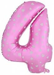 К Цифра, 4, Розовый, (40''/102 см), 1 шт.