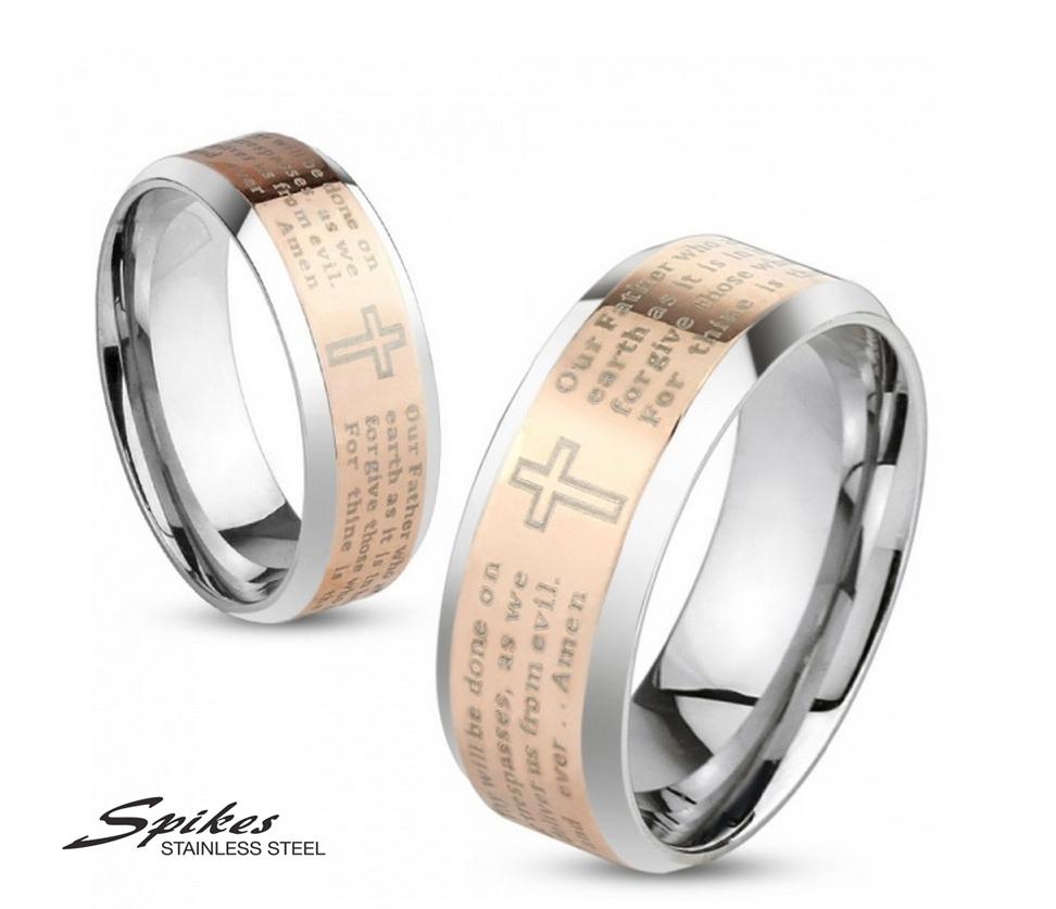 R-M4058R Мужское кольцо «Spikes» из стали с молитвой на английском языке