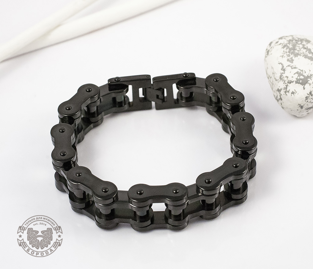 BM123 Стильный стальной браслет «Цепь» черного цвета (22 см) фото 05