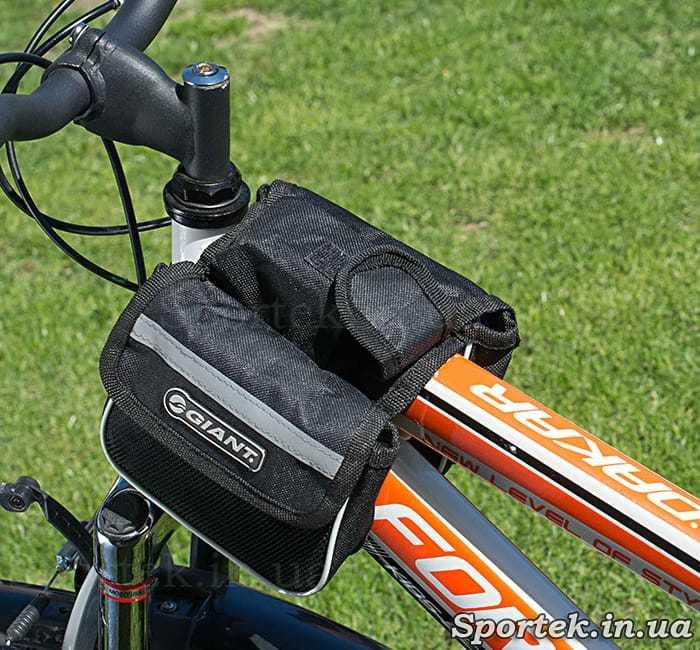 Велосумка Giant подвійна з бічними сітчастими кишенями на рамі велосипеда