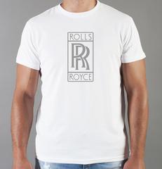Футболка с принтом Роллс-Ройс (Rolls-Royce) белая 004
