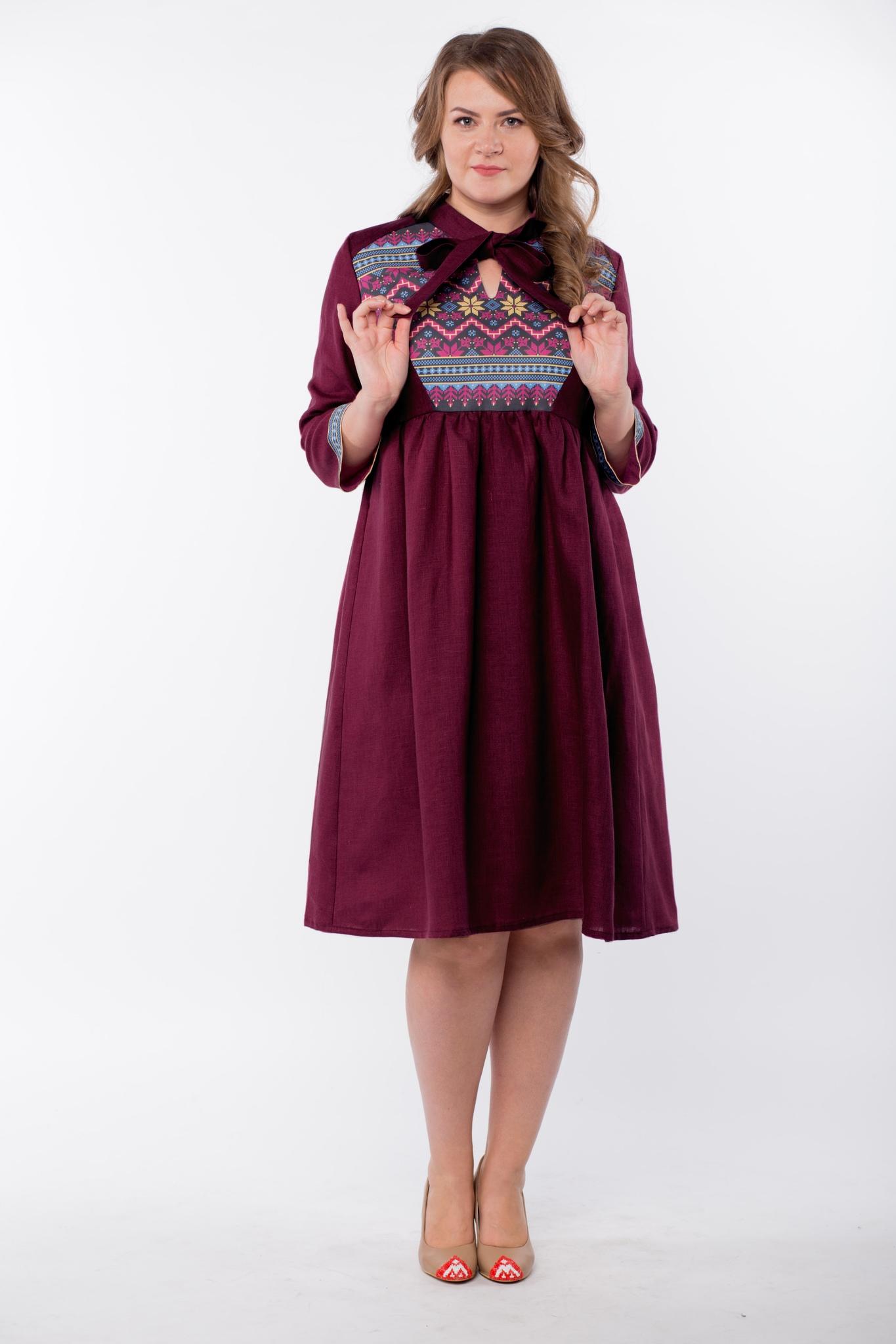Платье льняное Бохо Каберне купить