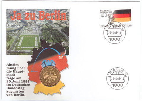 2 марки. 20 лет ФРГ - Франц Йозеф Штраус. (J) Германия. 1990 г. UNC (в конверте со спецгашением)