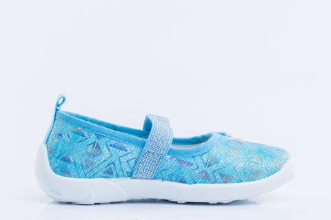 Туфли текстильные голубые с цветочком. Котофей (ТОК Урал)