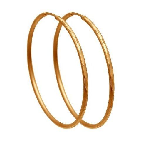 140062- Серьги-конго с алмазной гранью Ø 15 мм из золота
