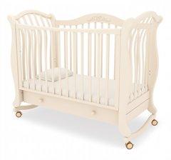 Кровать детская Габриэлла люкс на колесиках с ящиком слоновая кость