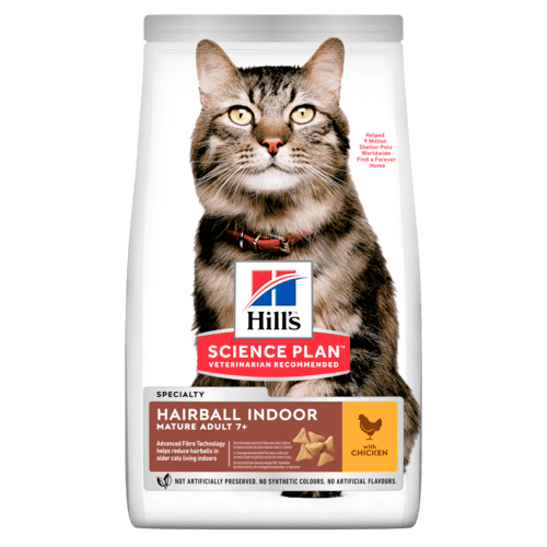 Сухой корм Корм для кошек старше 7 лет Hill`s Science Plan Adult 7+ Hairball Control, вывод шерсти из желудка, с курицей sp-feline-science-plan-adult-7-plus-hairball-control-indoor-chicken-dry-productShot_500.png.rend.png