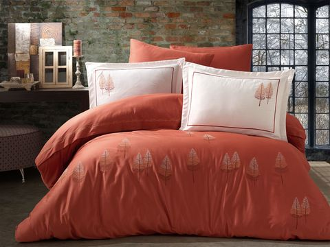 Комплект постельного белья DANTELA VITA сатин с вышивкой Евро PAMIR цвет терракотовый