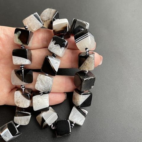 Бусина агат Куб черно-белый 13 мм 1 бусина