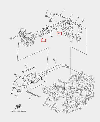 Прокладка карбюратора для лодочного мотора F20 Sea-PRO (6-8)