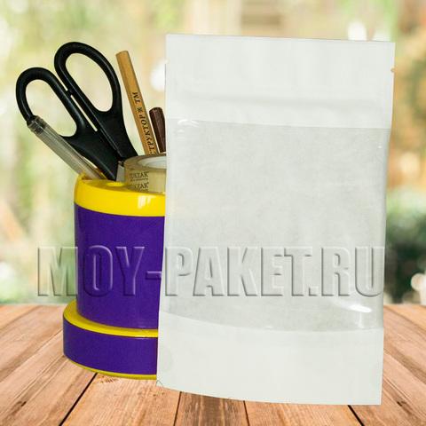 Крафт пакет дой-пак с замком зип-лок и большим окошком 120x185 мм белый