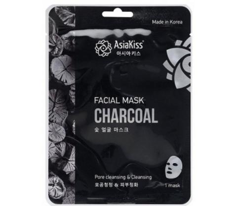 Тканевая маска для лица AsiaKiss с экстрактом древесного угля 25 гр