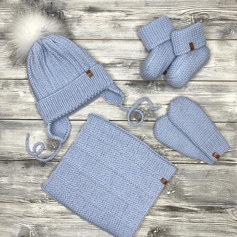 Комплект: шапка, снуд, варежки, пинетки