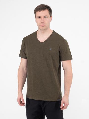 Мужская футболка «Великоросс» цвета хаки V ворот