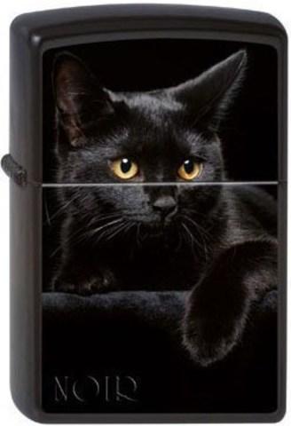Зажигалка Zippo Cat с покрытием Black Matte, латунь/сталь, чёрная, матовая, 36x12x56 мм