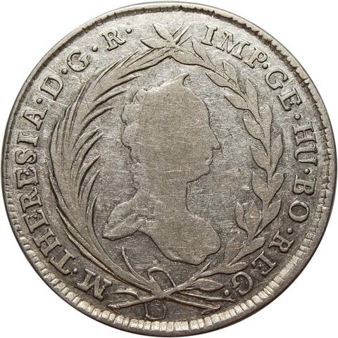 20 крейцеров. Мария Тереза. Австрия. Серебро. 1756 год. F+