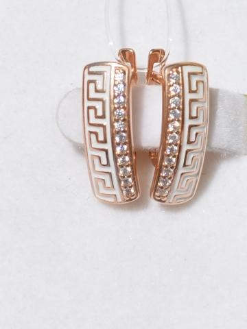Серьги из золочёного серебра с эмалью с фианитами