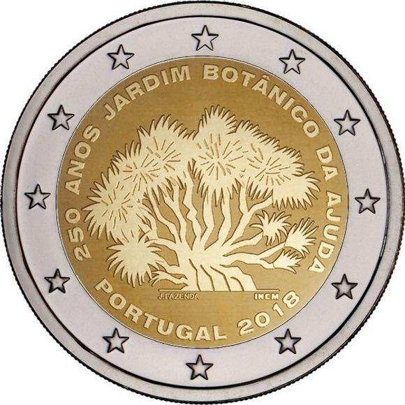 """2 евро """"250-летие Ботанического сада Ажуда в Лиссабоне"""" 2018 - Португалия"""