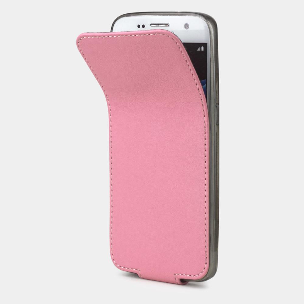 Чехол для Samsung Galaxy S7 из натуральной кожи теленка, розового цвета