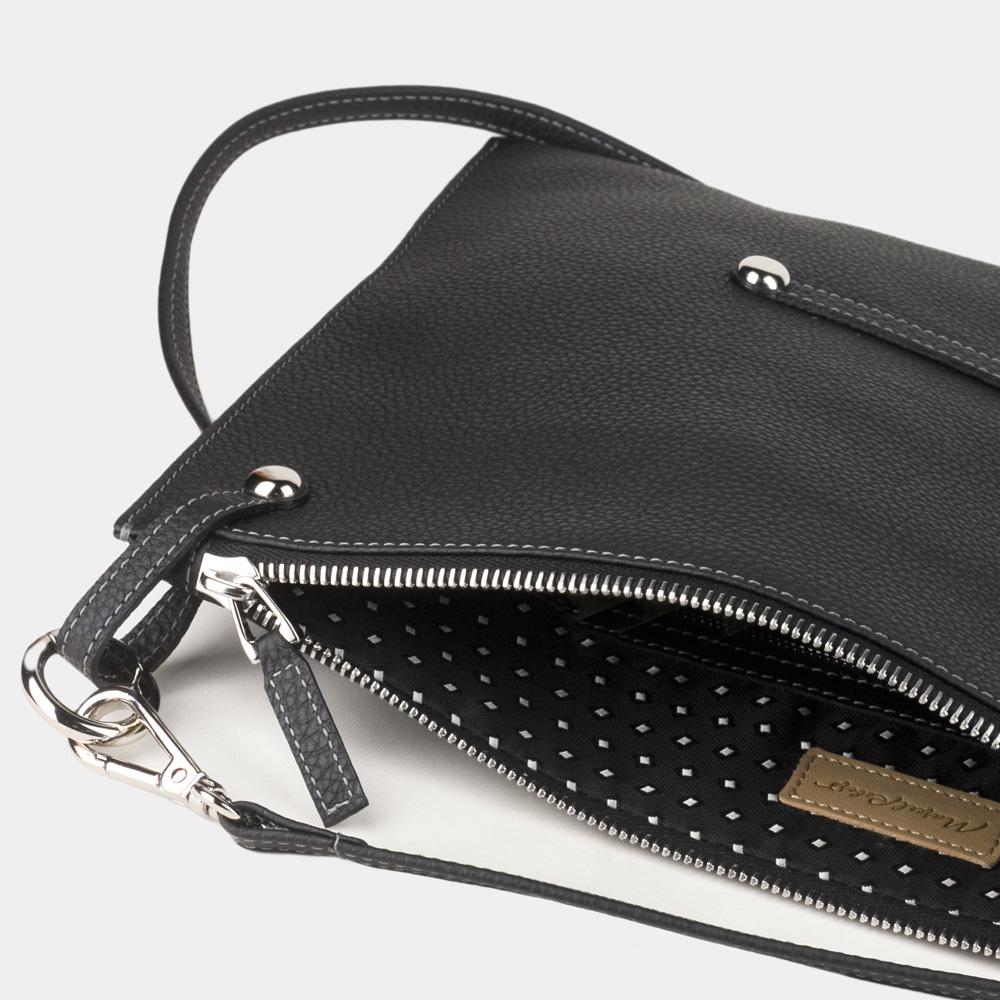 Женская сумка Tereze Easy из натуральной кожи теленка, цвета черный мат