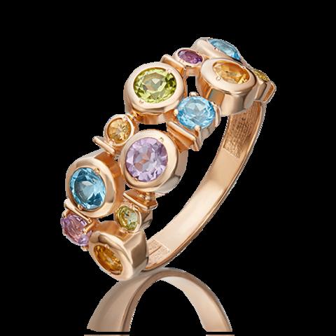 01-5447-00-730-1110-57- Кольцо из золота с миксом полудрагоценных камней