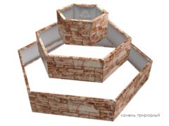 Клумба многоугольная оцинкованная Альпийская горка 3 яруса Природный камень