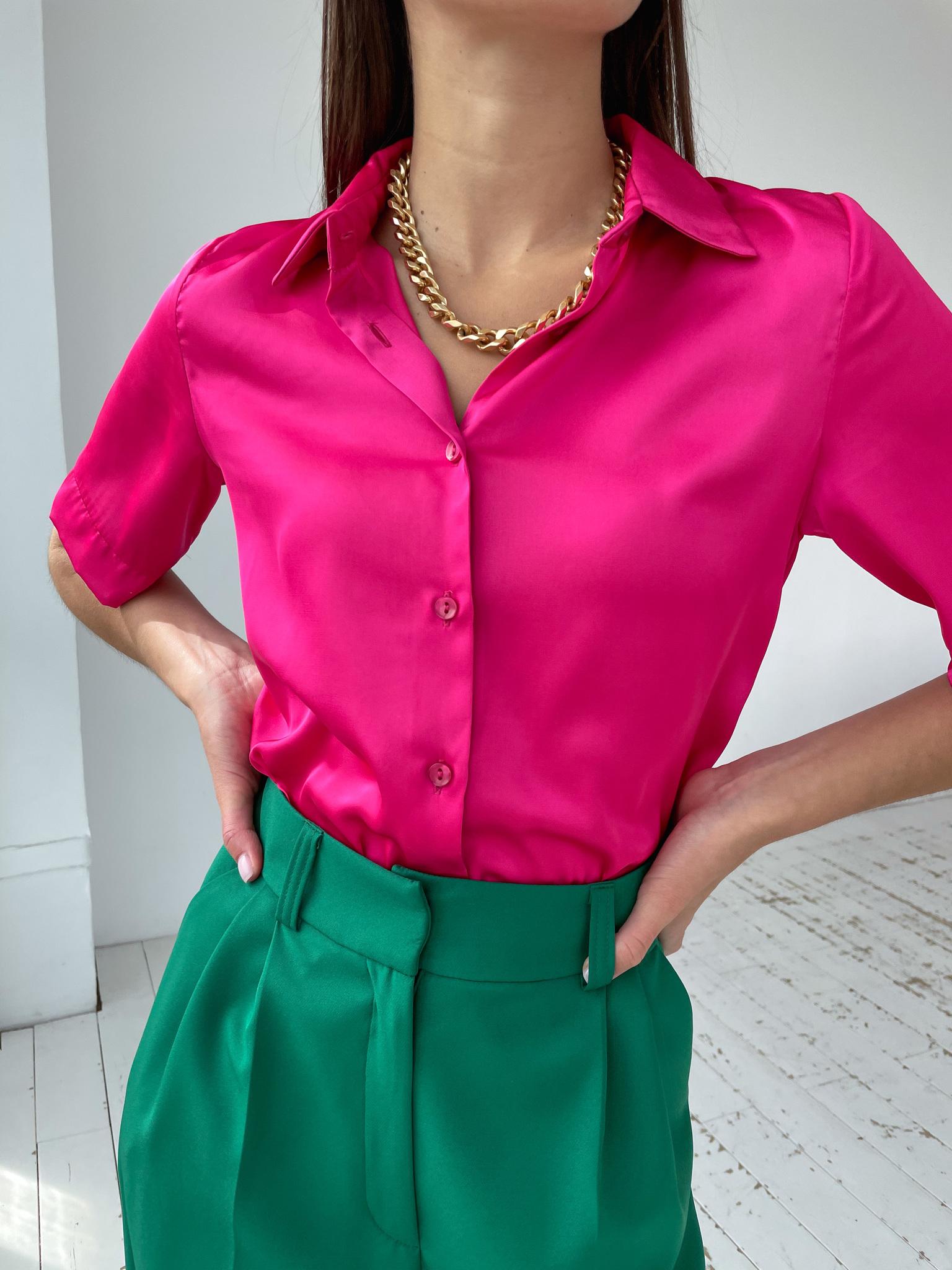 Рубашка шелковистая с коротким рукавом (фуксия)