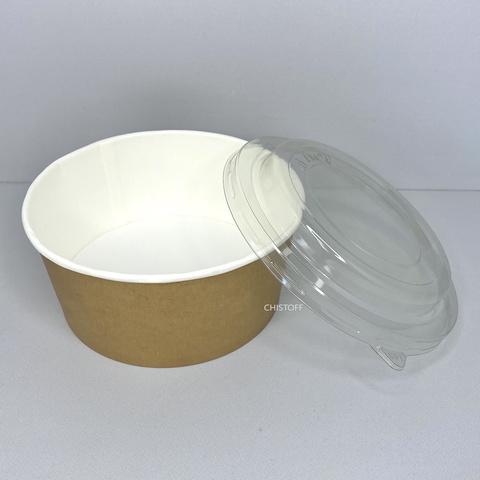 Бумажный контейнер (салатник) 750 мл крафт на белой основе + крышка Ø145х750 РЕТ