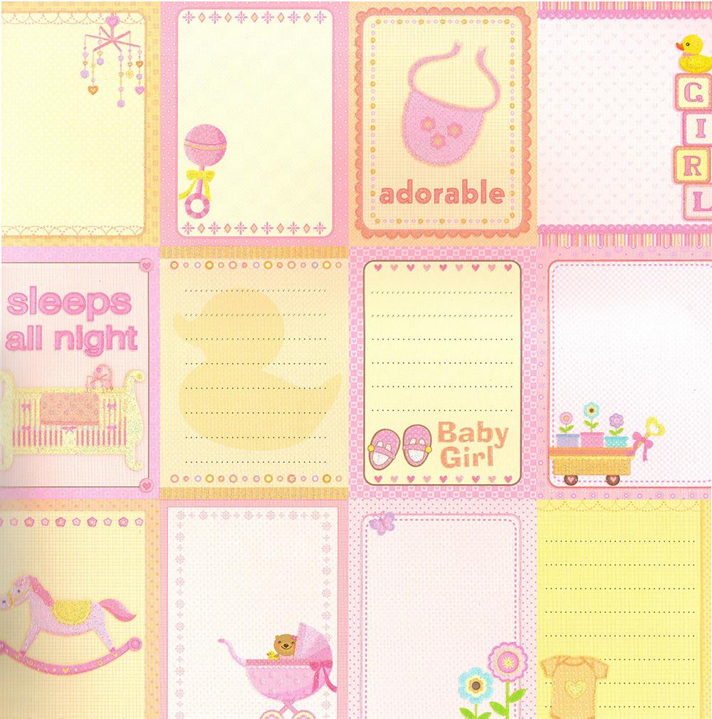 Бумага для скрапбукинга Sweet Baby девочка бирки