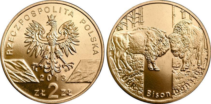 2 злотых Зубр (животный мир) 2013 год, Польша. UNC