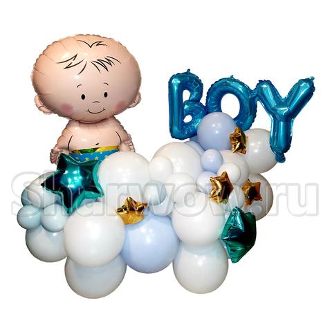 Композиция из воздушных шаров с малышом на выписку