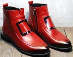 Женские ботинки из натуральной кожи осенние Evromoda 1481547 S.A.-Red