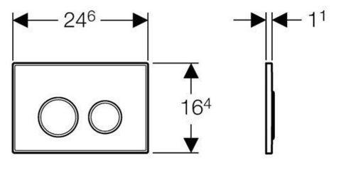 Клавиша смыва Geberit Sigma20 115.778.KM.1 черный/хром/черный схема