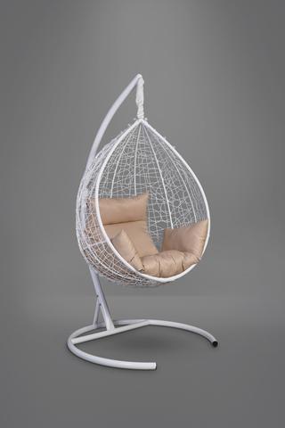 Подвесное кресло-кокон SEVILLA белое + каркас + бежевая подушка