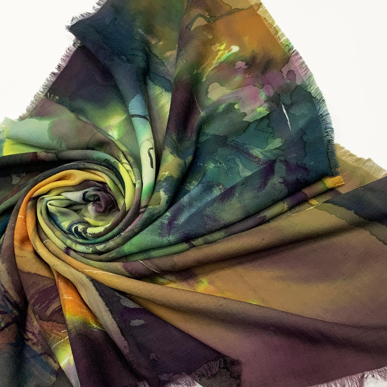 Кашемировый платок батик Лес  С-74-ш
