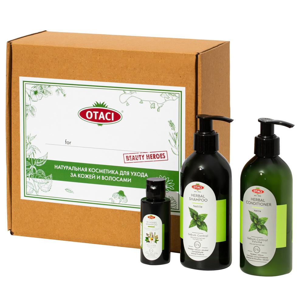 """Каталог Подарочный набор OTACI для волос """"Сияние и объем"""" с экстрактом крапивы, натуральными маслами и эссенциями. OT0035front.jpg"""