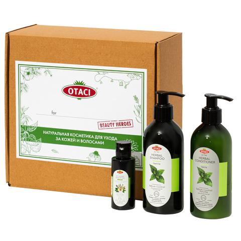 """Подарочный набор OTACI для волос """"Сияние и объем"""" с экстрактом крапивы, натуральными маслами и эссенциями."""