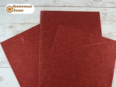Фоамиран с блестками красный 2мм (уценка)