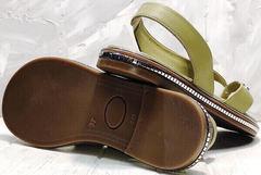 Модные шлепанцы босоножки женские на плоской подошве Evromoda 454-411 Olive.