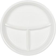 Тарелка одноразовая d 220мм, 3-х секционная, белая, ПП, 100шт/уп