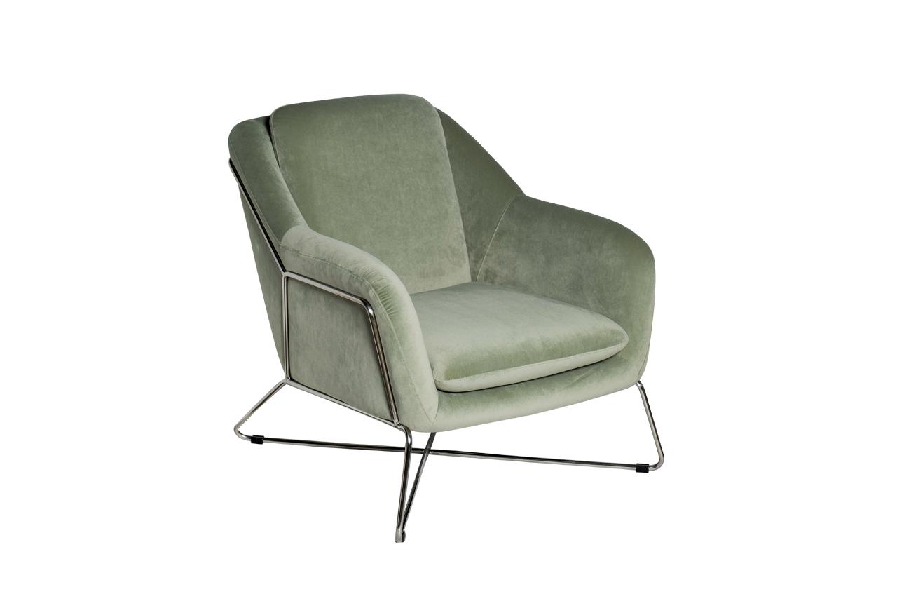 Кресло на металлическом каркасе велюровое светло-оливковое (46AS-AR2976-OLV) Garda Decor