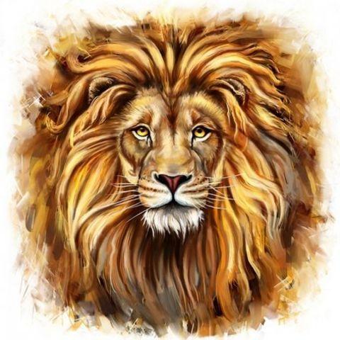 Алмазная Мозаика 20x30 Лев с раскинувшейся гривой